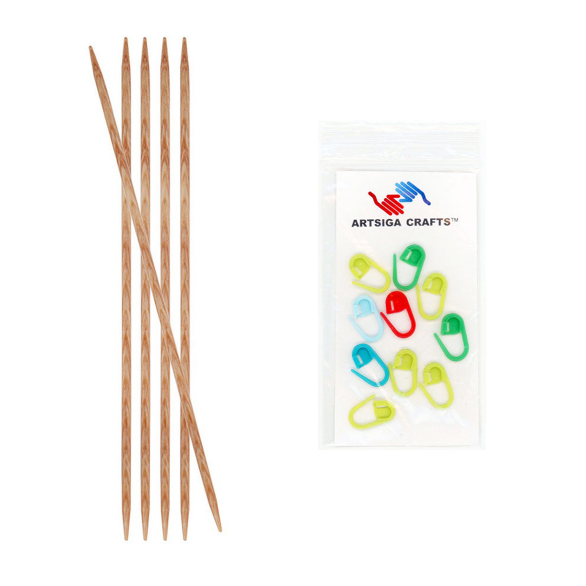 Knitter's Pride Bundle: Naturalz Double Pointed 6-inch (15cm) Knitting Needles (Set of 5) with 10 Artsiga Crafts Stitch Markers