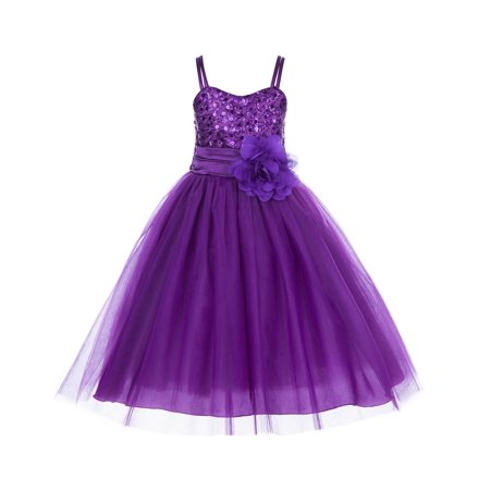 Ekidsbridal Spaghetti-Straps Sequin Tulle Flower Girl Dress Bridesmaid Wedding Pageant Toddler Recital Easter Holiday Communion Birthday Baptism Occasions B-1508NF
