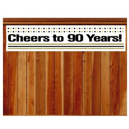 CakeSupplyShop Item#090CIB 90th Birthday / Anniversary Cheers Wall Decoration Indoor / OutDoor Party Banner (10 x 50inches) - Cheers Banner