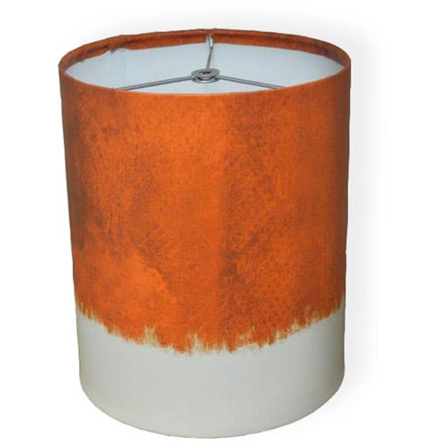 """10"""" Drum Lamp Shade, Dark Orange Watercolor"""