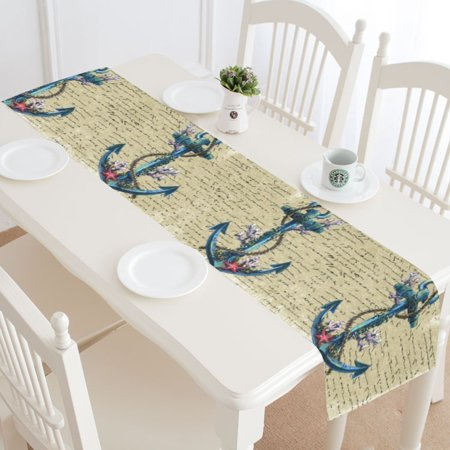 Nautical Table Decoration Ideas (MYPOP Ocean Nautical Anchor Table Runner Home Decor 14x72 Inch,Vintage Letter Table Cloth Runner for Wedding Party Banquet)