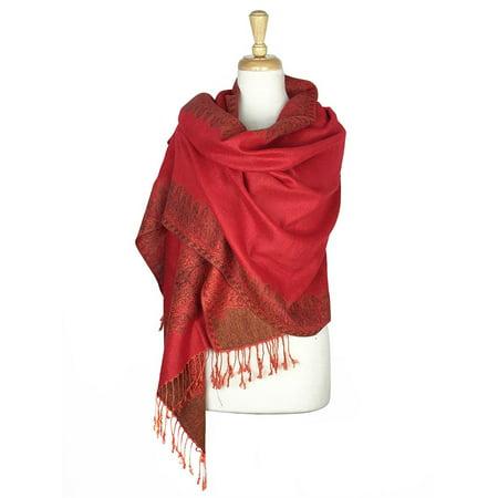 Layer Scarf - Paskmlna® Border Pattern Double Layered Reversible Woven Pashmina Shawl Scarf Wrap Stole #02