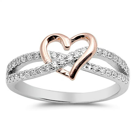 Sterling Silver Women's Flawless Colorless Cubic Zirconia Micro Pave Infinity Rose Gold-Tone Heart Ring (Sizes 4-10) (Ring Size 11)