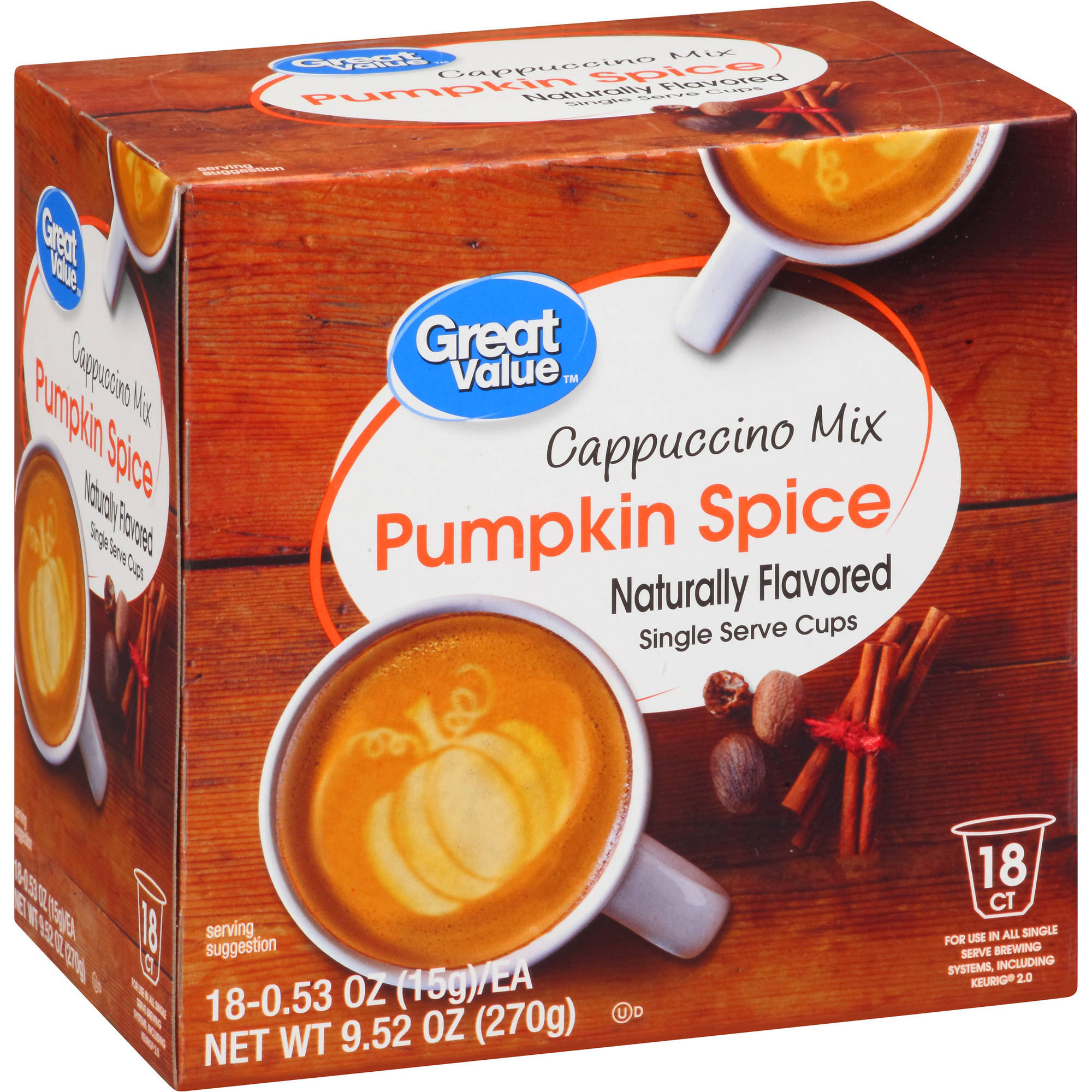 Great Value Pumpkin Spice Cappuccino Mix Naturally Flavored Single Serve Cups, 0.53 oz, 18 count