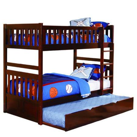 Homelegance Rowe Full / Full Bunk Bed in Dark (Hunter Traditional Dark Cherry Wood Bunk Bed)