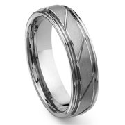 Titanium Kay Tungsten Carbide Diamond Cut Groove Comfort Fit Mens Wedding Band Ring Sz 10.0