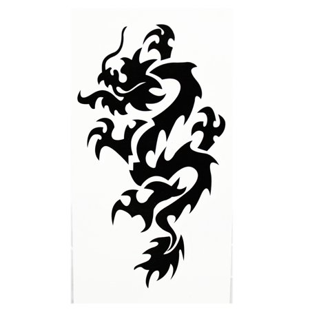 Fearsome Dragon Banner Emblem Temporary Tribal Tattoo