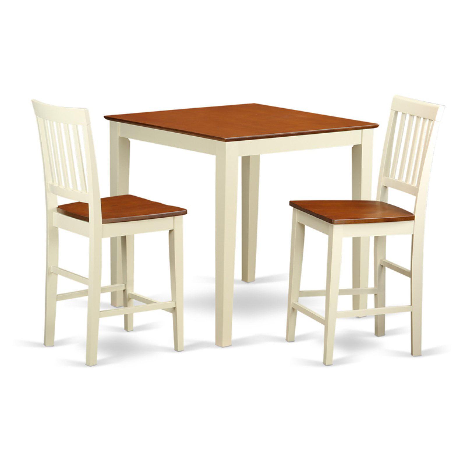 East West Furniture Vernon 3 Piece Slat Back Dining Table Set