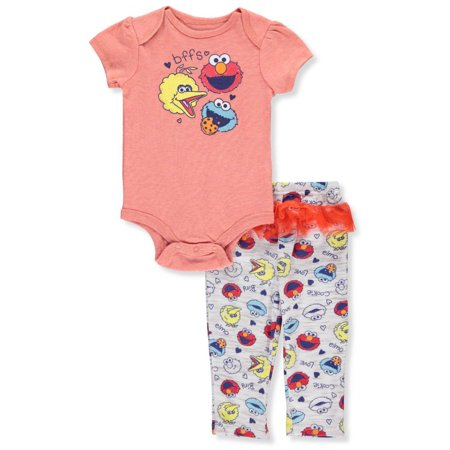 Sesame Street Baby Girls' 2-Piece Pants Set Outfit