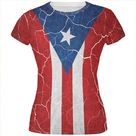 Distressed Puerto Rican Flag All Over Juniors T Shirt ()