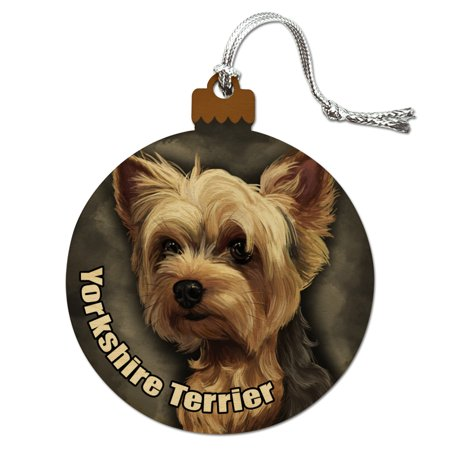 Yorkshire Terrier Yorkie Dog Pet Wood Christmas Tree Holiday