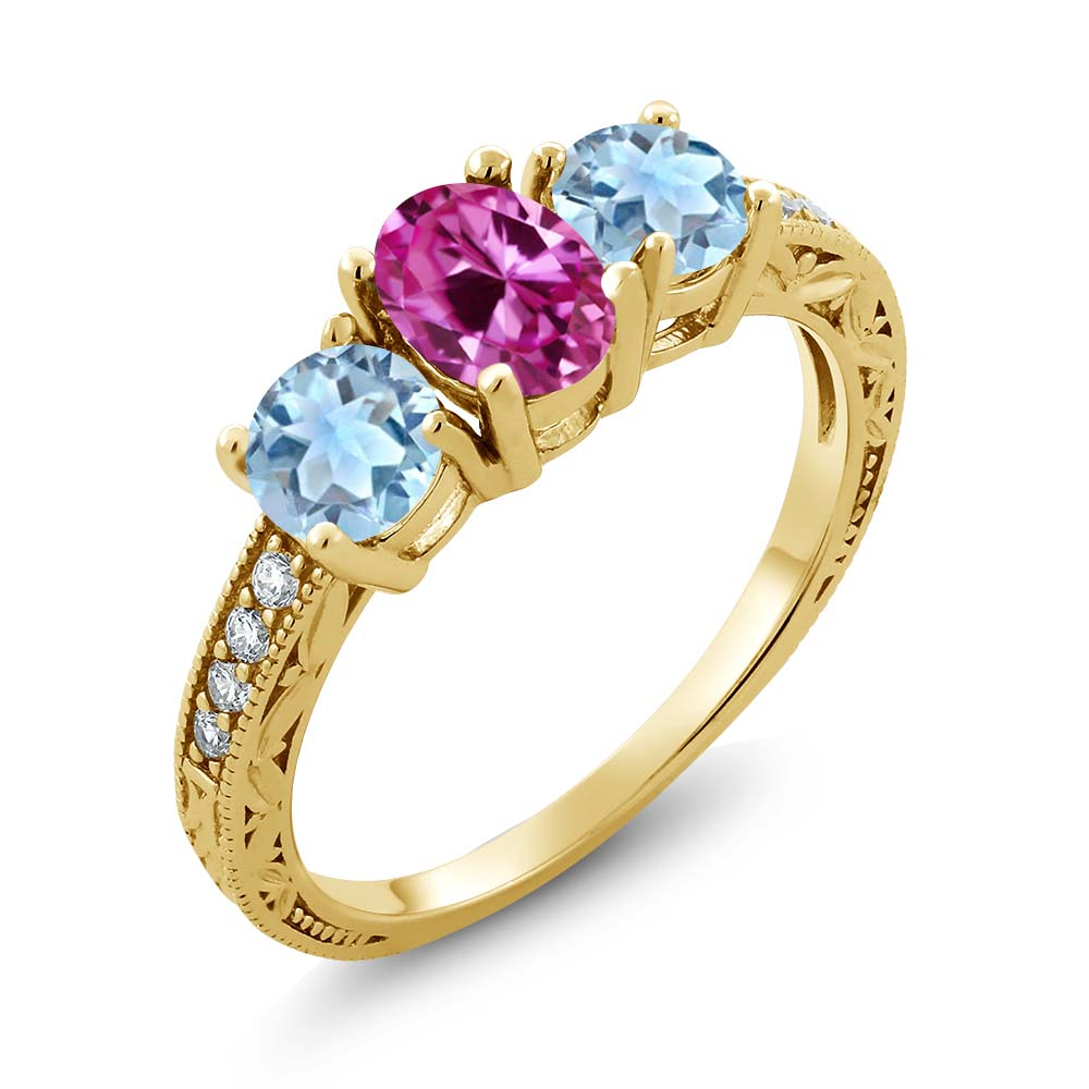 1.82 Ct Oval Pink Created Sapphire Sky Blue Aquamarine 14K Yellow Gold Ring by