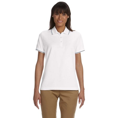 Devon & Jones D113W Ladies Pima Pique SS Tipped Polo Shirt - White/Navy - Small
