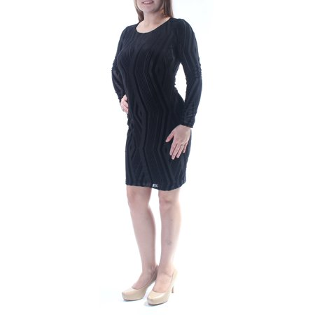 Doe Suede Body - BAR III Womens Black Faux Suede Long Sleeve Jewel Neck Above The Knee Body Con Dress  Size: M