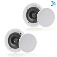 Pyle PDICBT652RD - Dual 6.5?? Bluetooth Ceiling / Wall Speakers, 2-Way Flush Mount Home Speaker Pair, 200 Watt