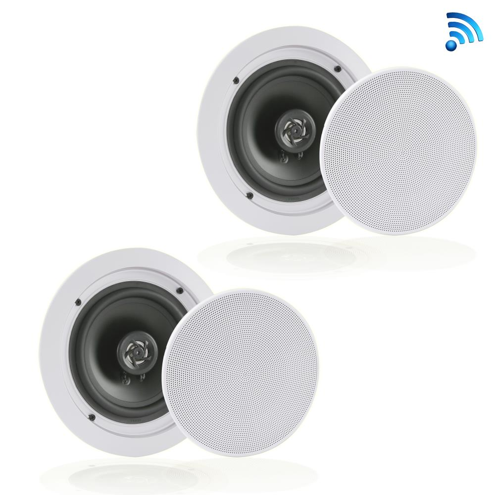Pyle PDICBT652RD - Dual 6.5'' Bluetooth Ceiling / Wall Speakers, 2-Way Flush Mount Home Speaker Pair, 200 Watt