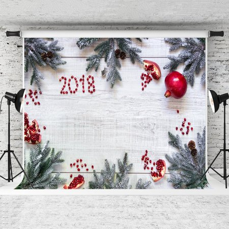 GreenDecor Polyester Fabric 7x5ft Wood Backdrop Christmas New Year's Eve Pomegranate Photography Backgorund Studio Props
