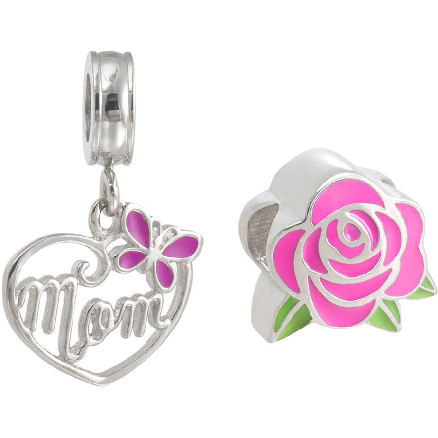 "Connections from Hallmark Stainless Steel Enamel Rose Charm and ""Mom"" Dangle Charm Set"