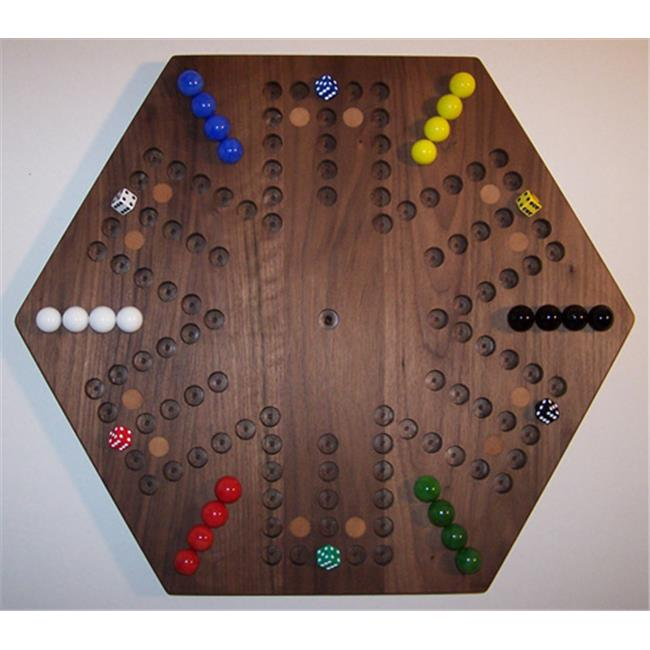 Charlies Woodshop W-1938alt.-1 Wooden Marble Game Board - Black Walnut with 12 Birch Inlaid Spots