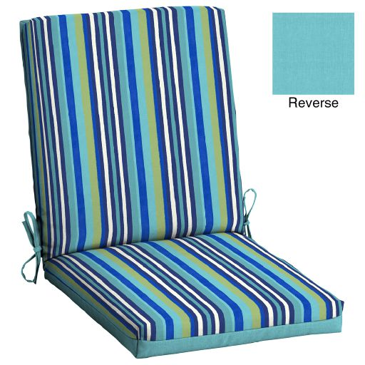 Mainstays Turquoise Stripe 43 x 20 in. 1 Piece Outdoor Dining Chair Cushion
