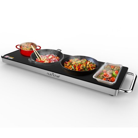 NutriChef Electric Warming Tray / Food Warmer with Non-Stick Heat-Resistant Glass Plate - 22.4