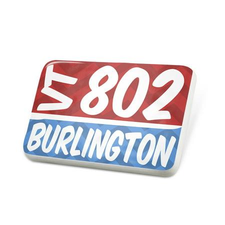 Porcelein Pin 802 Burlington, VT red/blue Lapel Badge – NEONBLOND ()
