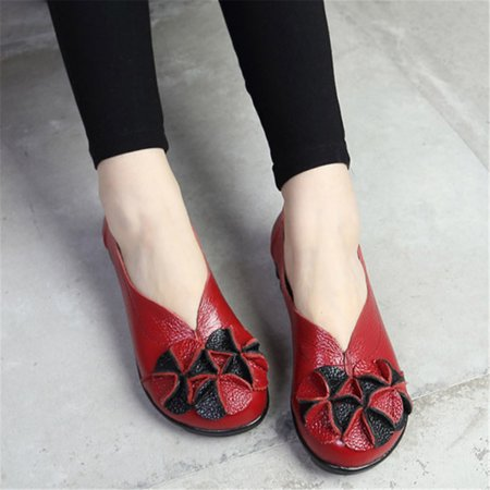 Women Breathable Casual Shoes Comfortable Leisure Flat Shoes Cow Split Leather Slip On Sandals 5 Colors
