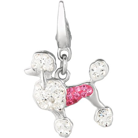 Women's Crystal Sterling Silver Poodle Clip-On Charm