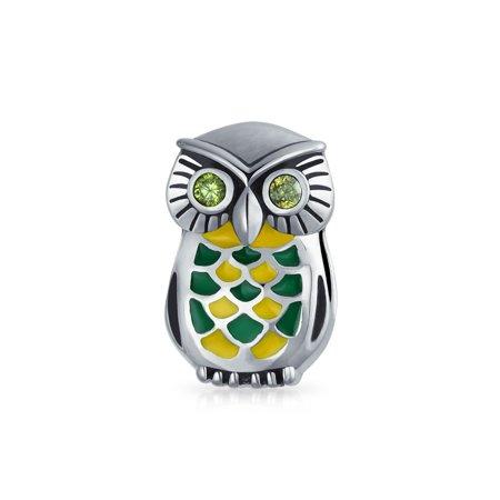Bling Jewelry 925 Silver Enamel Watchful Owl Bead Charm Fits Pandora