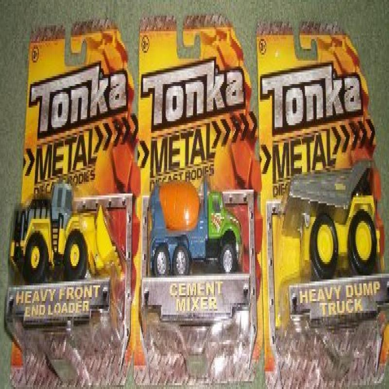 (3) Tonka Metal Diecast 4 Inch Trucks Heavy Dump Truck Cement Mixer Heavy Front End Loader by