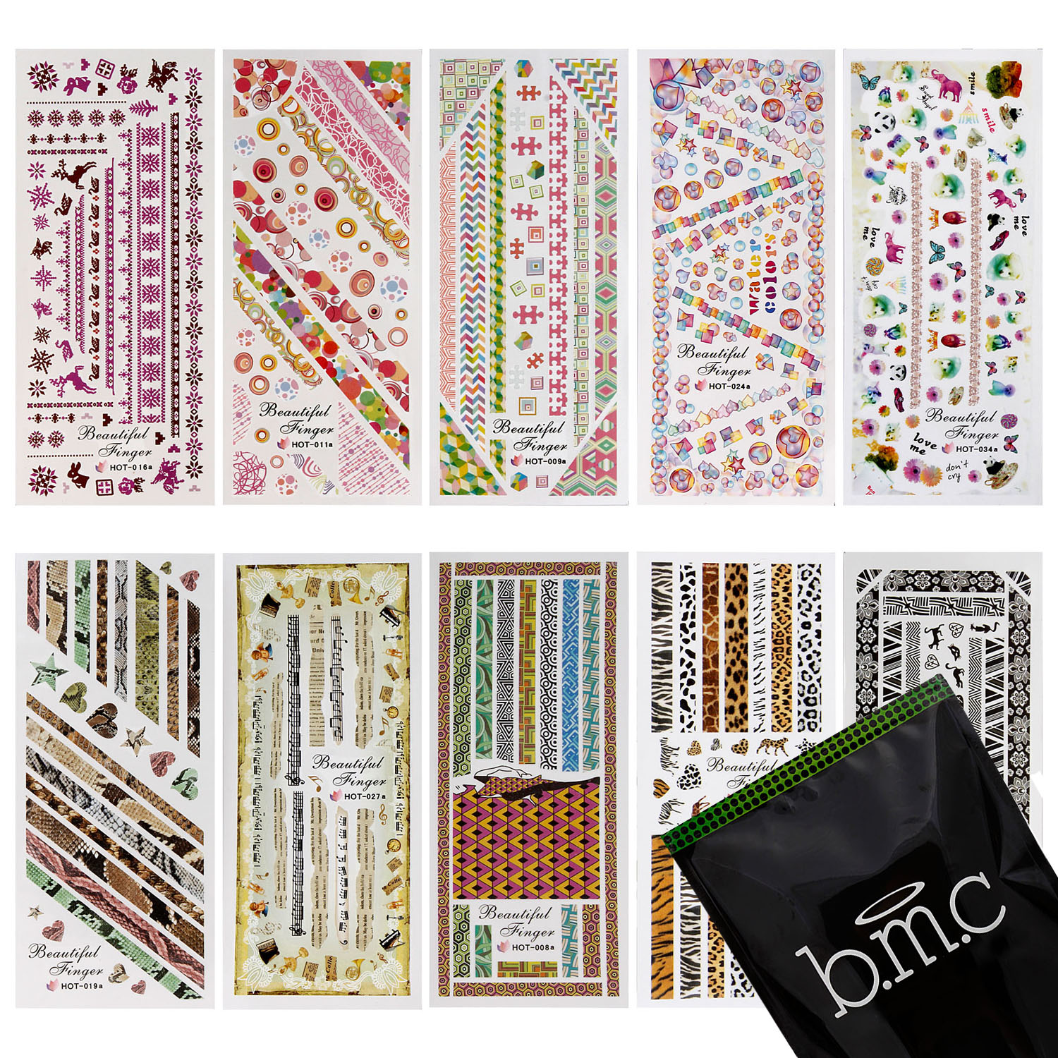 BMC 10 Sheet Nail Art Water Transfer Stickers Tattoo Effects Decoration Decals