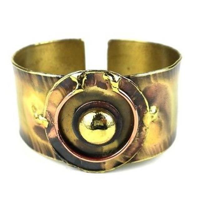 Brass Images Circle Within Brass Cuff