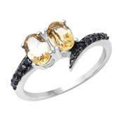Sterling Silver Citrine and Black Spinal Ring Size: 8, Color: Yellow