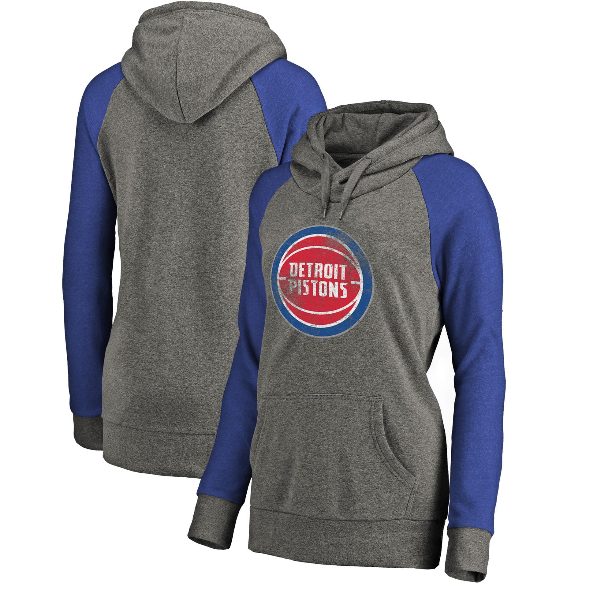 Detroit Pistons Fanatics Branded Women's Distressed Logo Tri-Blend Pullover Hoodie - Ash/Royal