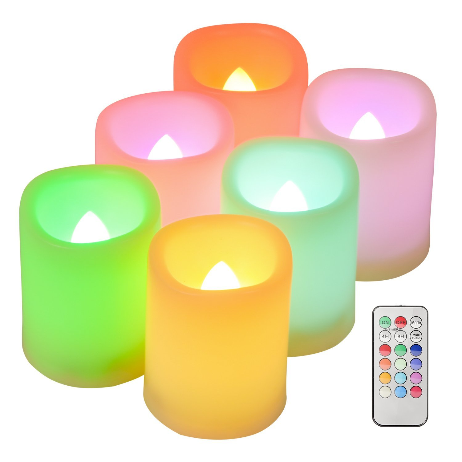 Kohree Set of 6 Flameless LED Colorful Changing Votive Candles with Remote and Timer, Battery-Included