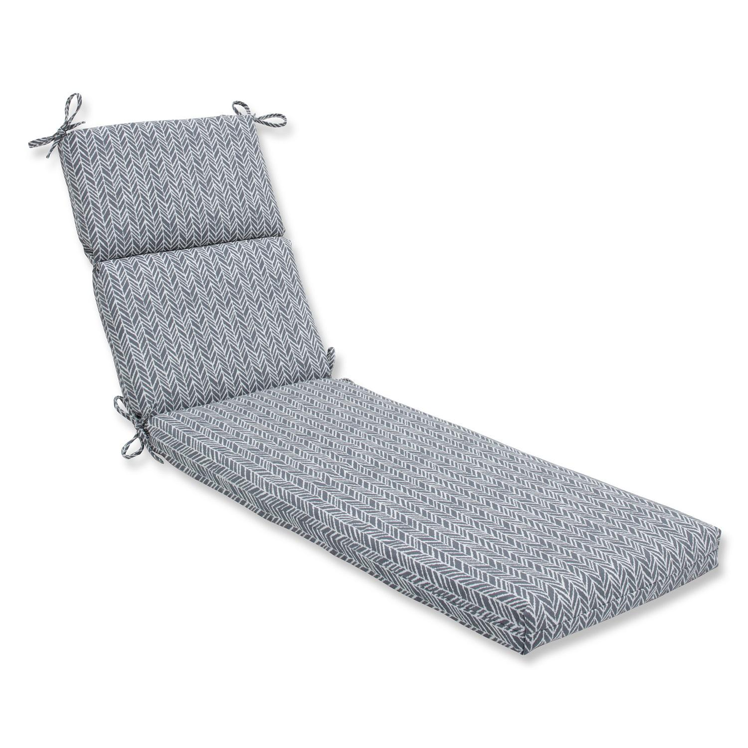 "72.5"" Simplistic Nature Stone Gray and Pearly White Chaise Lounge Cushion"
