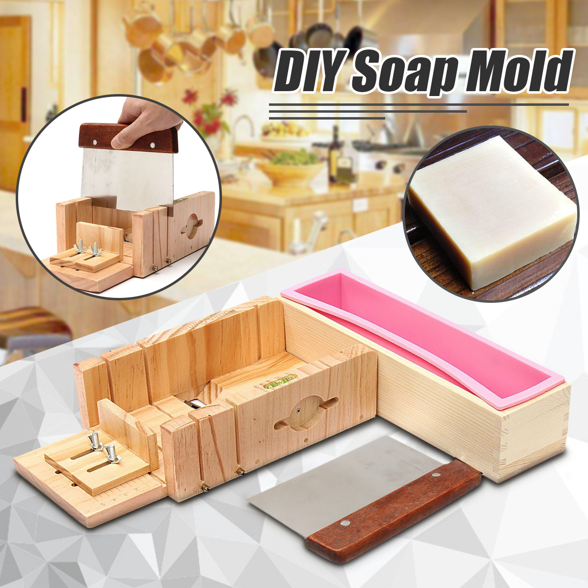 OUTERDO Reusable Cake Mold Cutter Silicone Soap Mold Rectangle Wooden Box DIY Toast Loaf Baking Making Tool Bake Cake Bread Toast Mold by