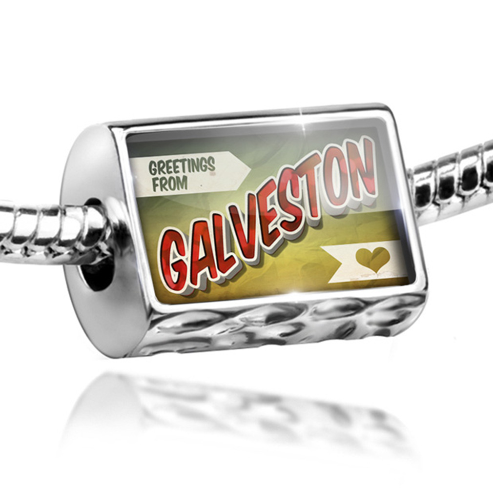 Bead Greetings from Galveston, Vintage Postcard Charm Fits All European Bracelets by NEONBLOND