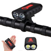 XANES 1800LM USB Rechargeable Bike Light Indicator Headlight 2xL2 4400mAh with USB Cable, Bike Mount