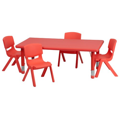 Flash Furniture 24''W x 48''L Adjustable Rectangular Plastic Activity Table Set in Multiple Colors with 4 School Stack Chairs