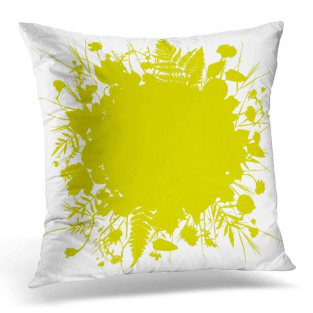 CMFUN Floral Round Wreath of Flowers Natural Leaves Spring Summer for Wedding Gold Yellow Mustard Silhouette Pillow Case Pillow Cover 20x20 inch