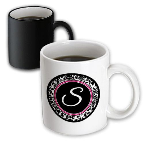 3dRose Letter S stylish monogrammed circle - girly personal initial personalized black damask with hot pink, Magic Transforming Mug, 11oz
