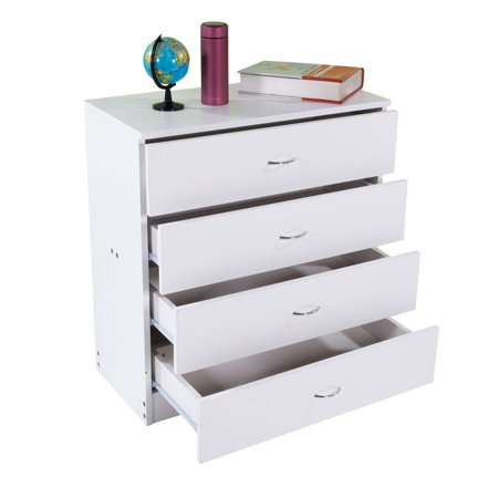 4 Drawers Storage Dresser Bedside Table Wood Cabinet Side End Table Nightstand for Clothes Cosmetic Bedroom Storage Chest Organizer Drawer Unit ()