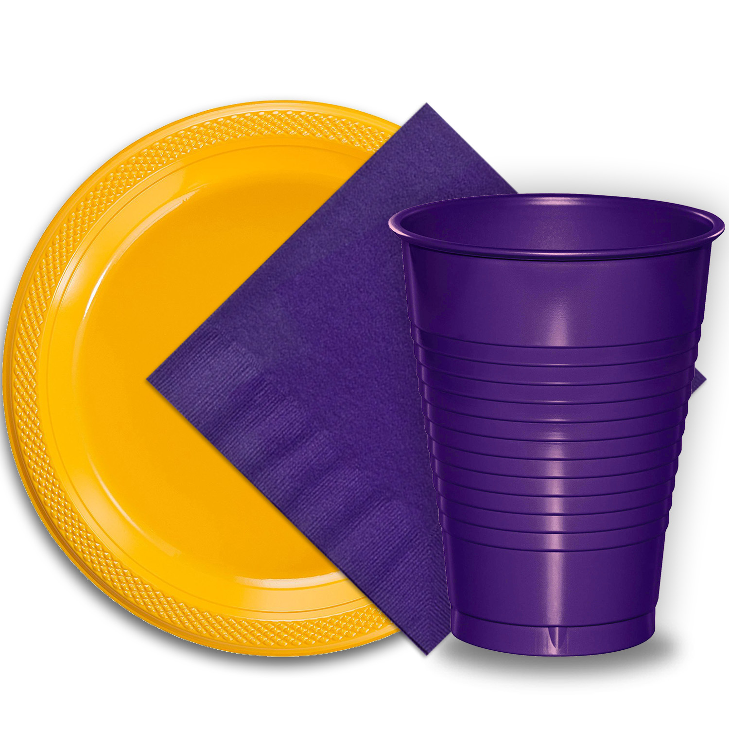 """50 Yellow Plastic Plates (9""""), 50 Purple Plastic Cups (12 oz.), and 50 Purple Paper Napkins, Dazzelling Colored Disposable Party Supplies Tableware Set for Fifty Guests."""