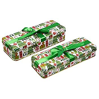Valentine Cookie Tins With Lids For Gift Giving Empty Candy Treat Swap Containers Snack Exchange Boxes Ginger Snaps Cerebrate a Holiday Goodie Party Favors Box 2 Pack Rectangular Shape w/Green Ribbon
