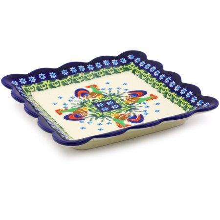Polish Pottery 6½-inch Scalloped Platter (Country Rooster Theme) Signature UNIKAT Hand Painted in Boleslawiec, Poland + Certificate of - Halloween Themed Fruit Platter