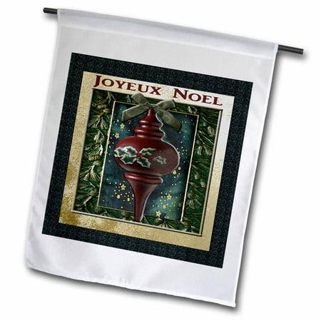 3dRose Joyeux Noel, Merry Christmas in French, Vintage Wooden Ornament - Garden Flag, 12 by (Joyeux Noel Merry Christmas)