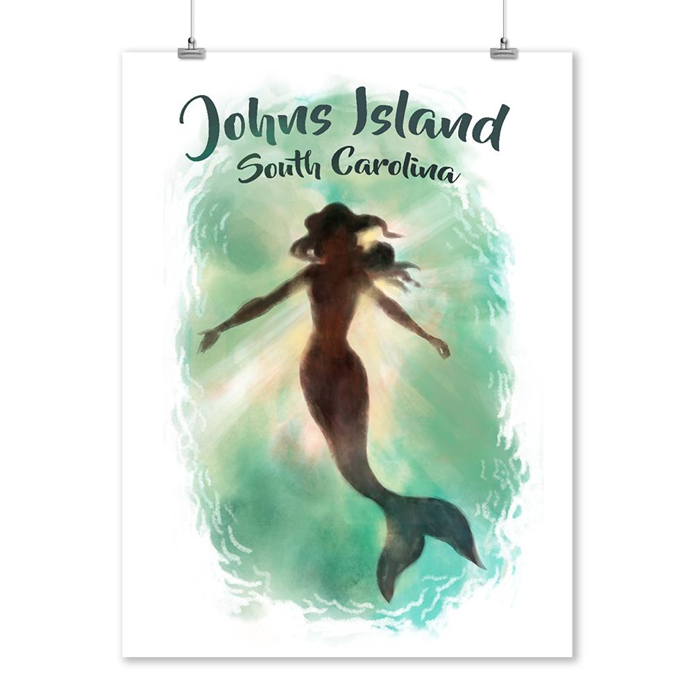 Johns Island, South Carolina - Mermaid Underwater - Lantern Press Artwork (9x12 Art Print, Wall Decor Travel Poster)