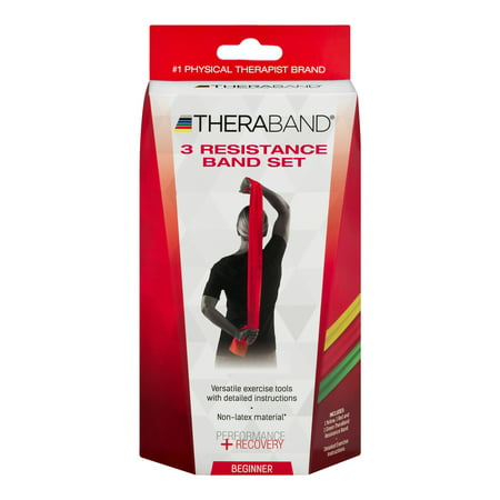 TheraBand Professional Non-Latex Resistance Bands, Yellow & Red & Green, Beginner