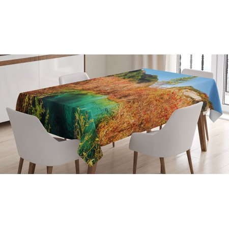 Rectangular Amber Ring - Nature Decor Tablecloth, Idyllic Fall Landscape with a Creek among Forest in National Park Valley Art, Rectangular Table Cover for Dining Room Kitchen, 60 X 84 Inches, Green Amber, by Ambesonne
